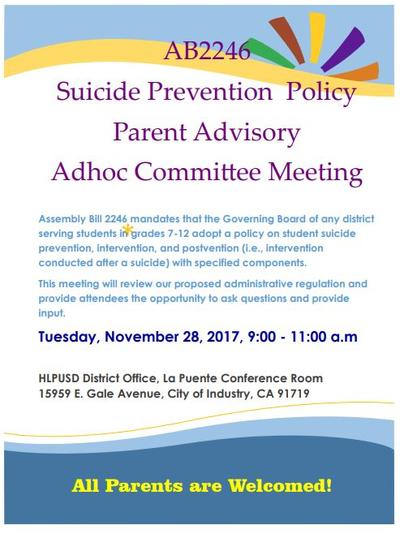 District Parent Advisory Meeting- English