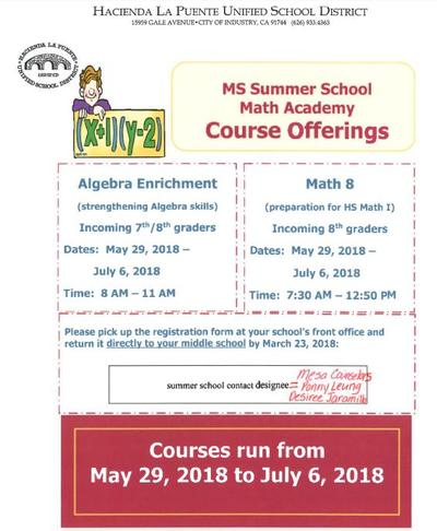 Middle School Math Summer School Information